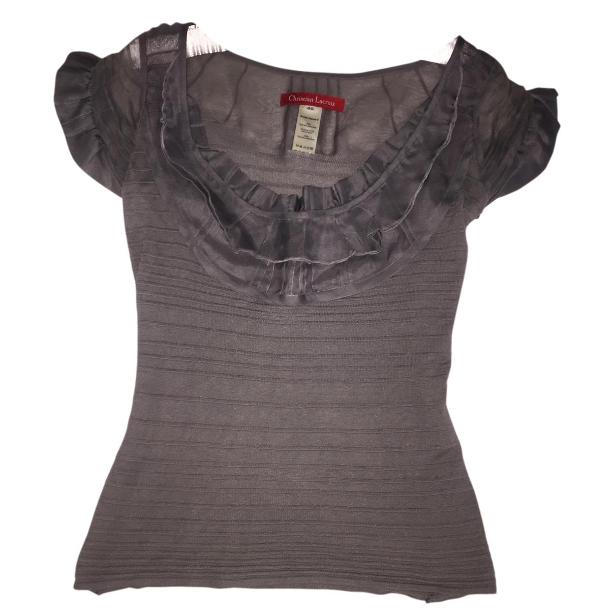 Christian Lacroix - Top   pour femme en soie - gris