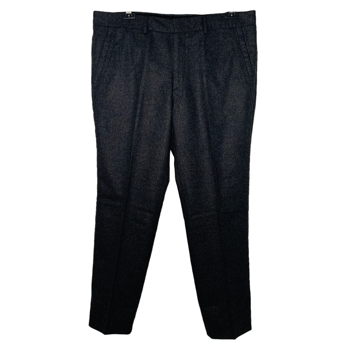 Hermès \N Anthracite Wool Trousers for Men 46 IT