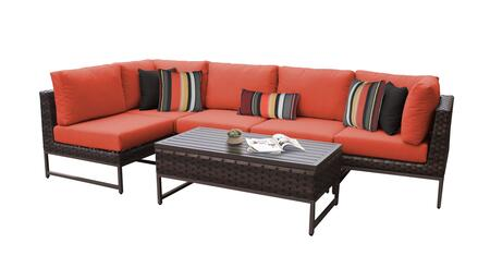 Barcelona BARCELONA-06q-BRN-TANGERINE 6-Piece Patio Set 06q with 2 Corner Chairs  3 Armless Chairs and 1 Coffee Table - Beige and Tangerine Covers