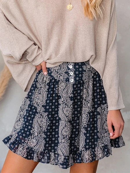 YOINS Navy Ruffle Hem Paisley Skirt