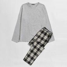 Schlafanzug Set einfarbiges Top & Hose mit Buchstaben Muster und Karo Muster