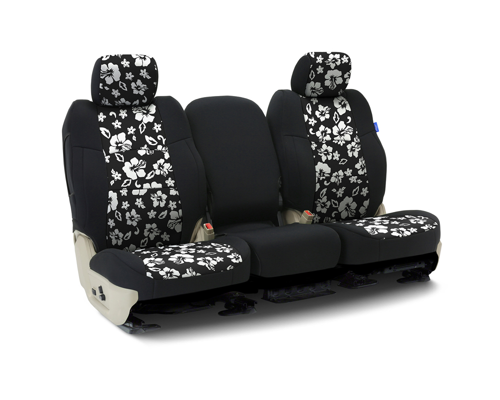 Coverking CSCF9JP7037 Custom Seat Covers 1 Row Neoprene Hawaiian Black | Black Sides Front Jeep Wrangler 1991-1995