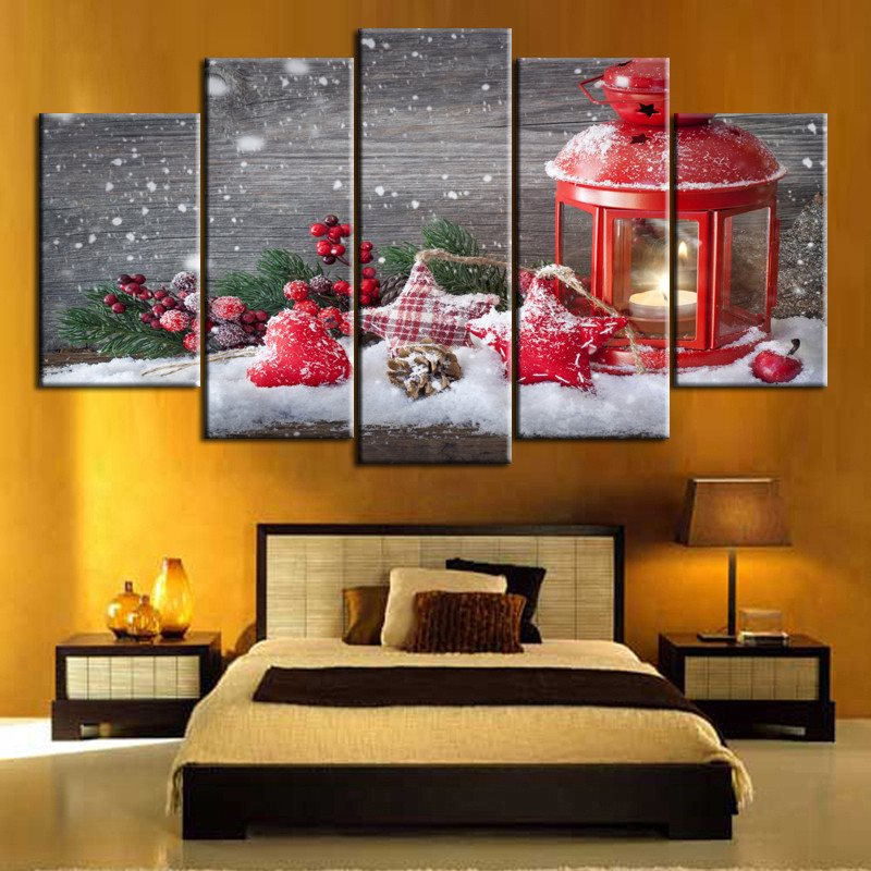 Christmas Themed 3D Non-Framed Prints 5 Pieces Hanging Canvas Waterproof Wall Prints