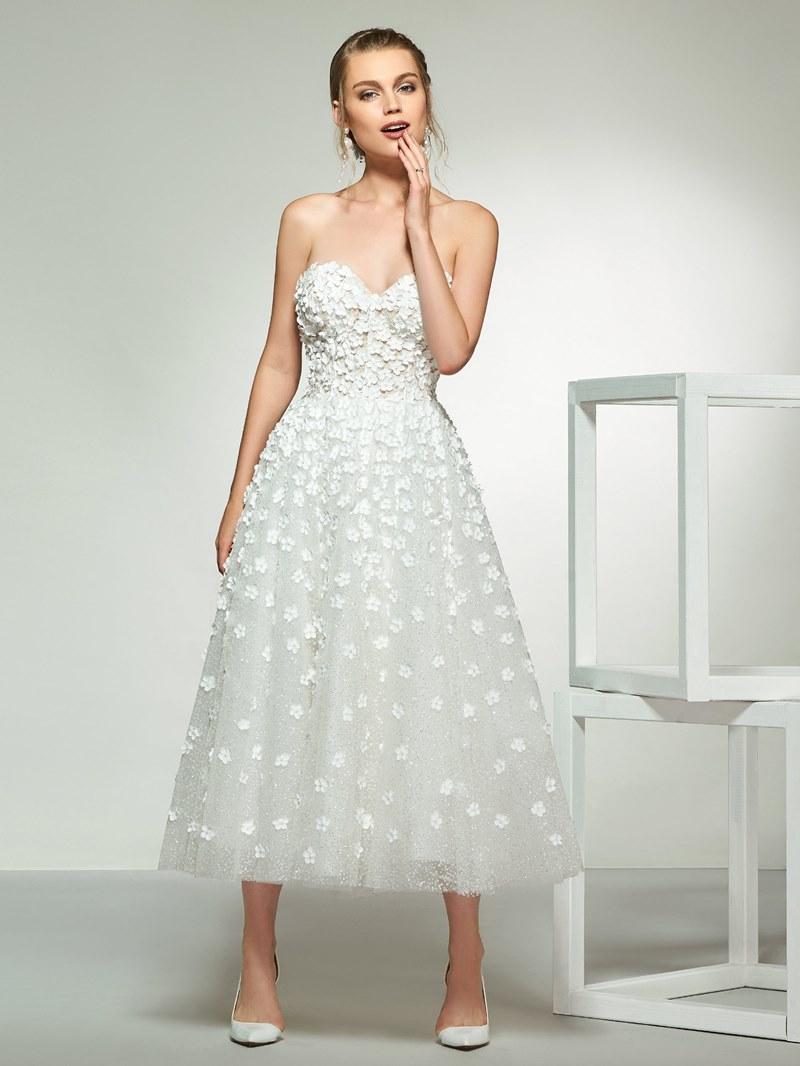 Ericdress A-Line Appliques Tea-Length Wedding Dress