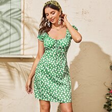 Allover Floral Tie Front Bustier Dress