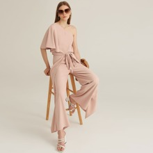 One Shoulder Top and Tie Front Wrap Palazzo Pants Set