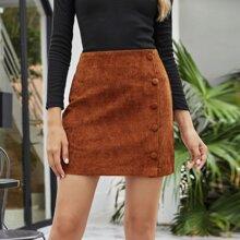 Button Corduroy Mini Straight Skirt