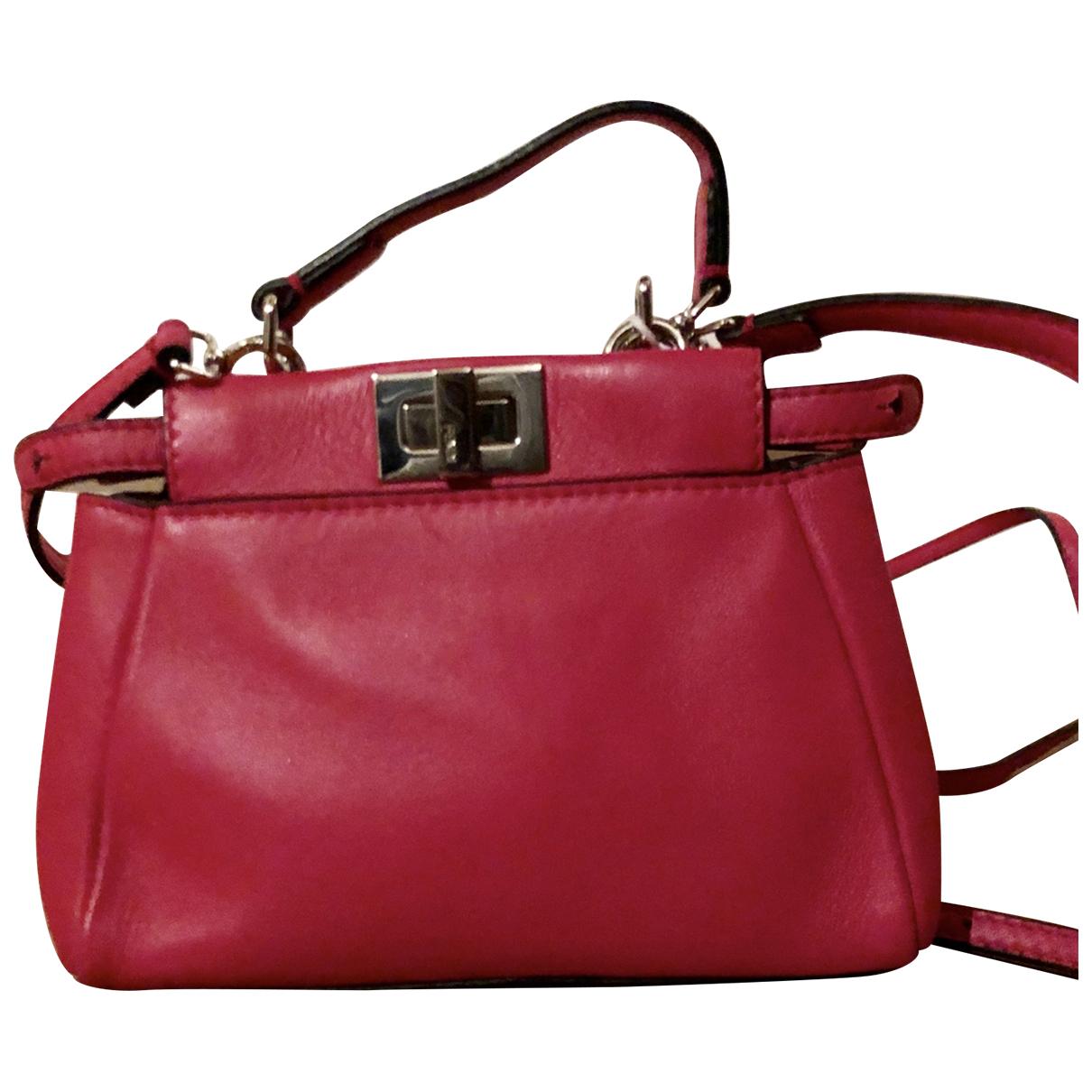Fendi - Sac a main Peekaboo mini pocket pour femme en cuir - rose