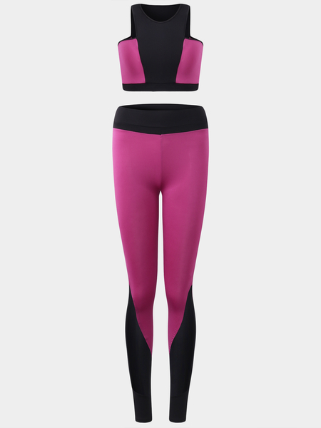 Yoins Active Contrast Color Stitching Design Tracksuit in Rose