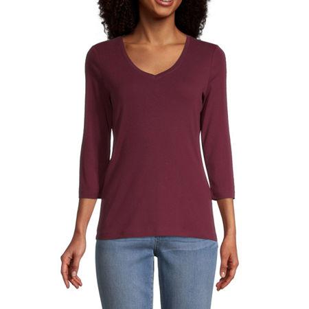 St. John's Bay-Womens V Neck 3/4 Sleeve T-Shirt, Small , Red