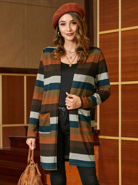 YOINS Multicolor Side Pockets Striped Long Sleeves Cardigan