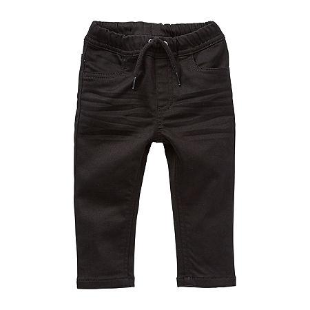 Okie Dokie Baby Boys Straight Pull-On Pants, 6 Months , Black