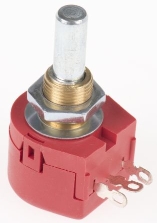 TE Connectivity 1 Gang Rotary Wirewound Potentiometer with an 6.35 mm Dia. Shaft - 25Ω, ±10%, 1W Power Rating, Linear,