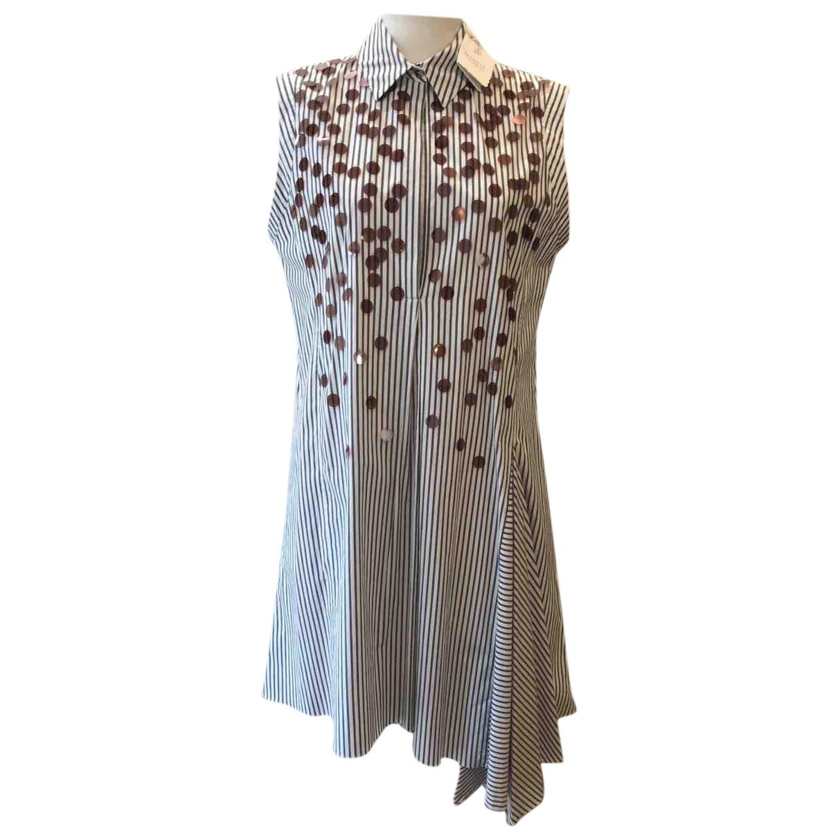 Brunello Cucinelli - Robe   pour femme en coton - bleu
