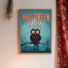 Halloween Wandmalerei mit Eule Muster ohne Rahmen