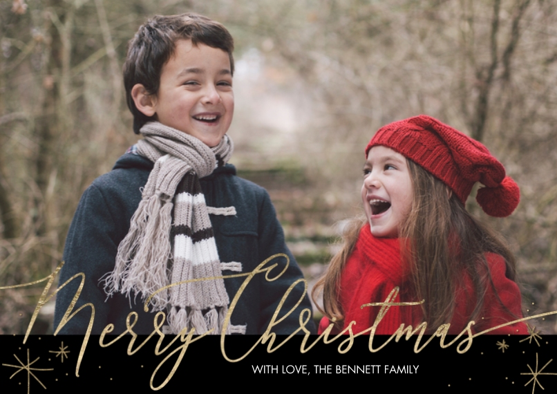 Christmas Photo Cards Flat Glossy Photo Paper Cards with Envelopes, 5x7, Card & Stationery -Christmas Gold Star Script by Tumbalina