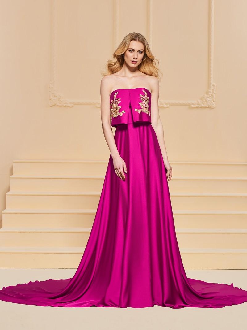 Ericdress A Line Strapless Applique Long Evening Dress