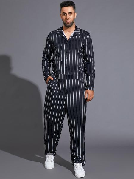Yoins Men Fashion Casual Black Striped Print Long Sleeve Button Romper Jumpsuit