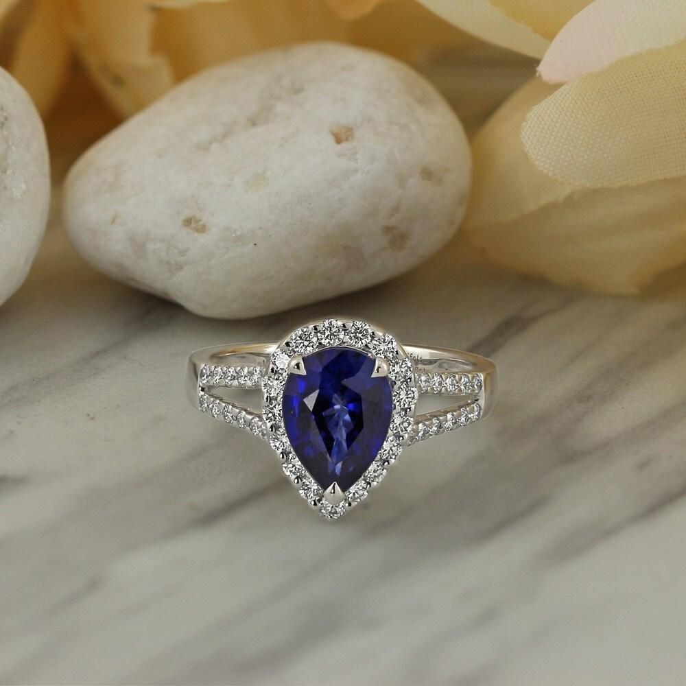 Auriya 18k Gold 2 5/8ct Pear-cut Blue Sapphire Halo Diamond Engagement Ring 1/2ct TDW (4.5)