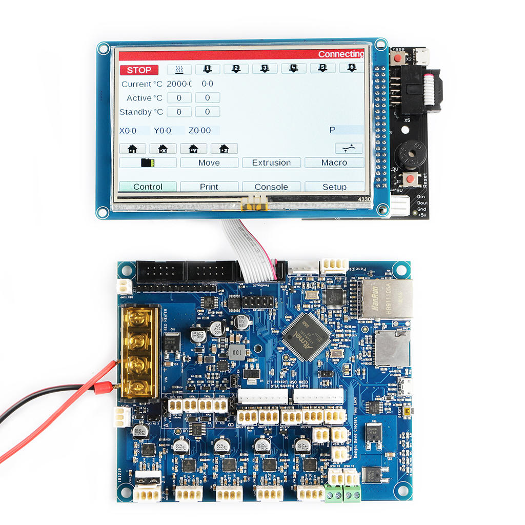 Cloned Duet 2 Maestro Advanced 32bit Motherboard Mainboard With 4.3inch PanelDue Touch Screen Controller For 3D Printer