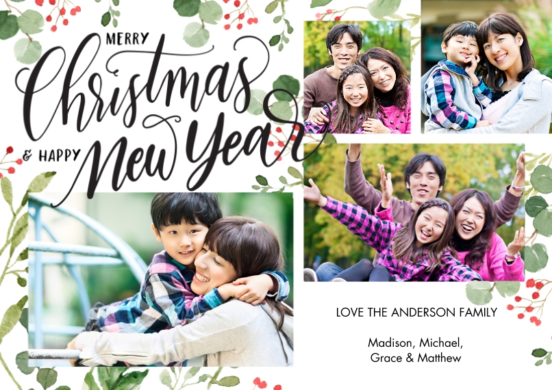 Christmas Photo Cards Flat Glossy Photo Paper Cards with Envelopes, 5x7, Card & Stationery -Christmas New Year Foliage by Tumbalina
