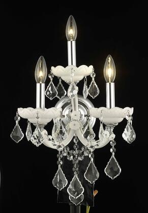 2800W3WH/SS 2800 Maria Theresa Collection Wall Sconce W12in H16in E8.5in Lt: 3 White Finish (Swarovski Strass/Elements