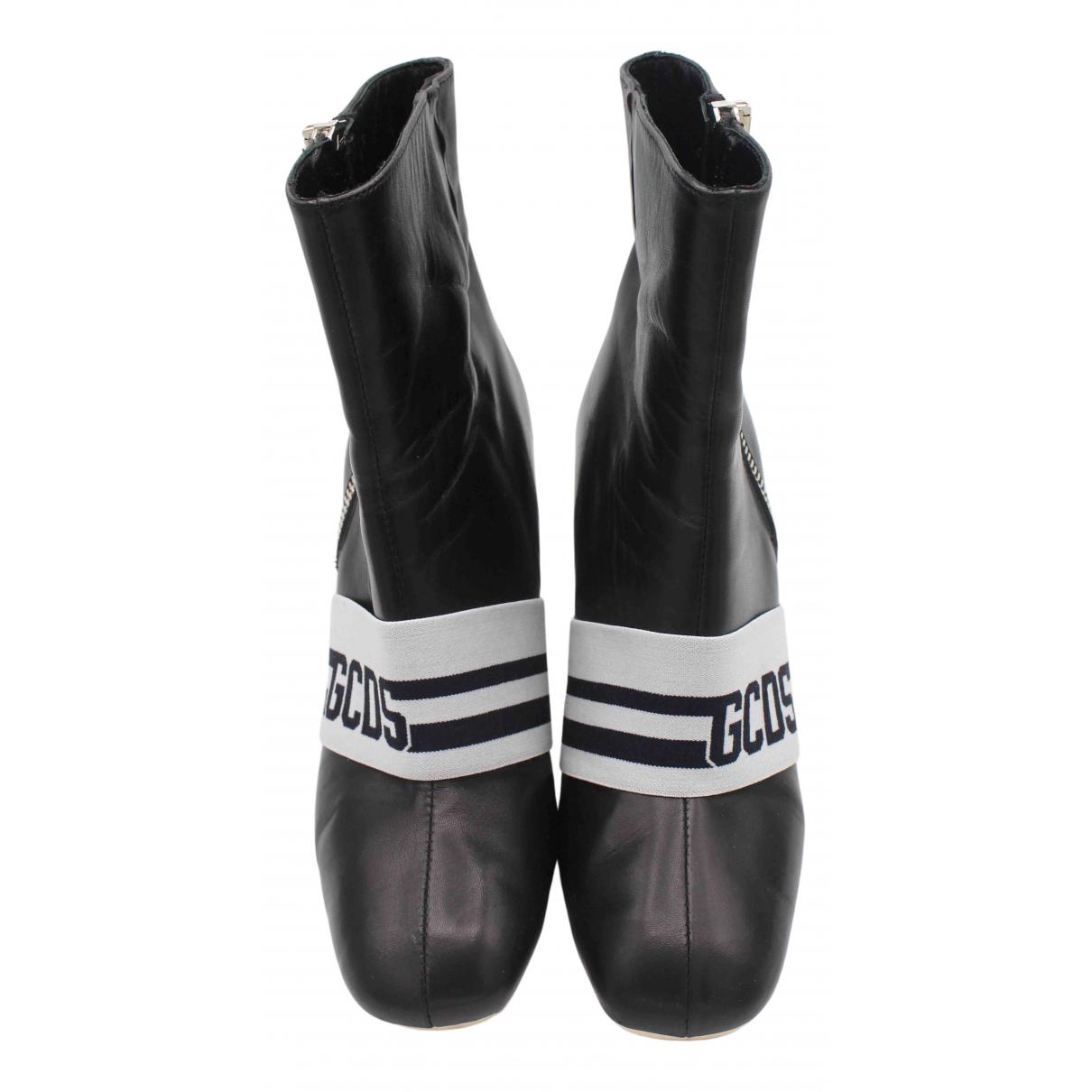 Gcds N Black Leather Boots for Women 41 EU