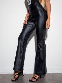 Zipper Side Flare Leg PU Pants