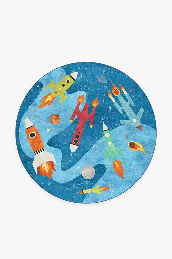 Washable Rug Cover | Rocket Ships Space Blue Rug | Stain-Resistant | Ruggable | 6' Round