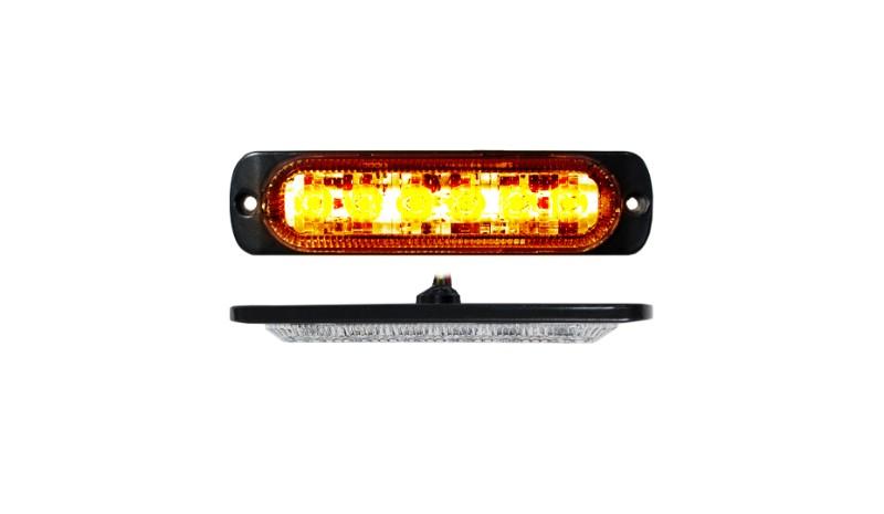 Race Sport Lighting RS70016A 6-LED Amber Ultra Slim Flush Mount 19-Flash Pattern Marker Strobe Light