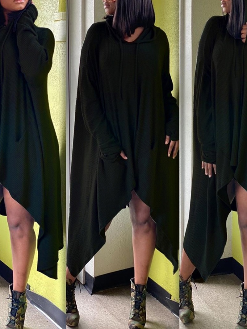 Ericdress Hooded Long Sleeve Asymmetric Asymmetrical Fall Dress