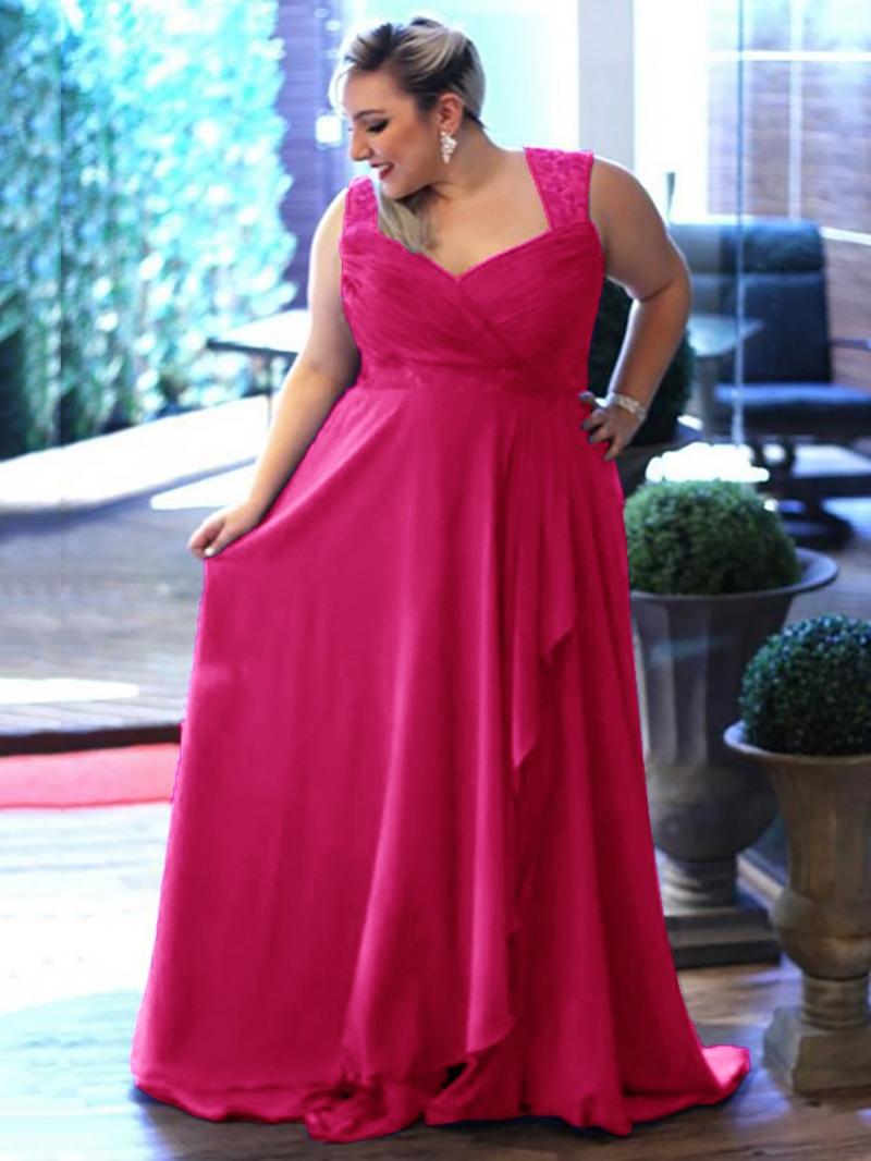 Ericdress V Neck Pleats Lace Hollow Plus Size Evening Dress