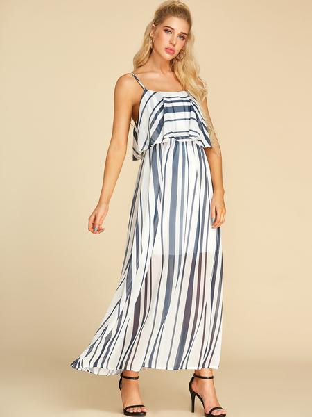 Yoins White Double Layer Stripe Square Neck Sleeveless Dress