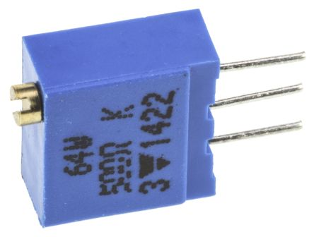 Vishay 64W Series 19 (Electrical), 22 (Mechanical)-Turn Through Hole Trimmer Resistor with Pin Terminations, 500Ω ±10%