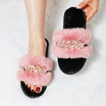 Rhinestone Decor Fluffy Slippers