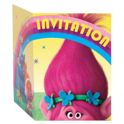 Trolls 8 Invitations For Birthday Party