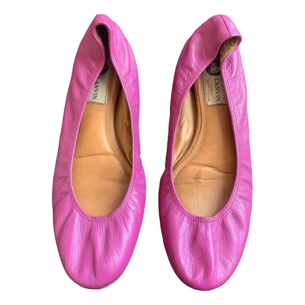 Lanvin \N Pink Leather Ballet flats for Women 39 EU