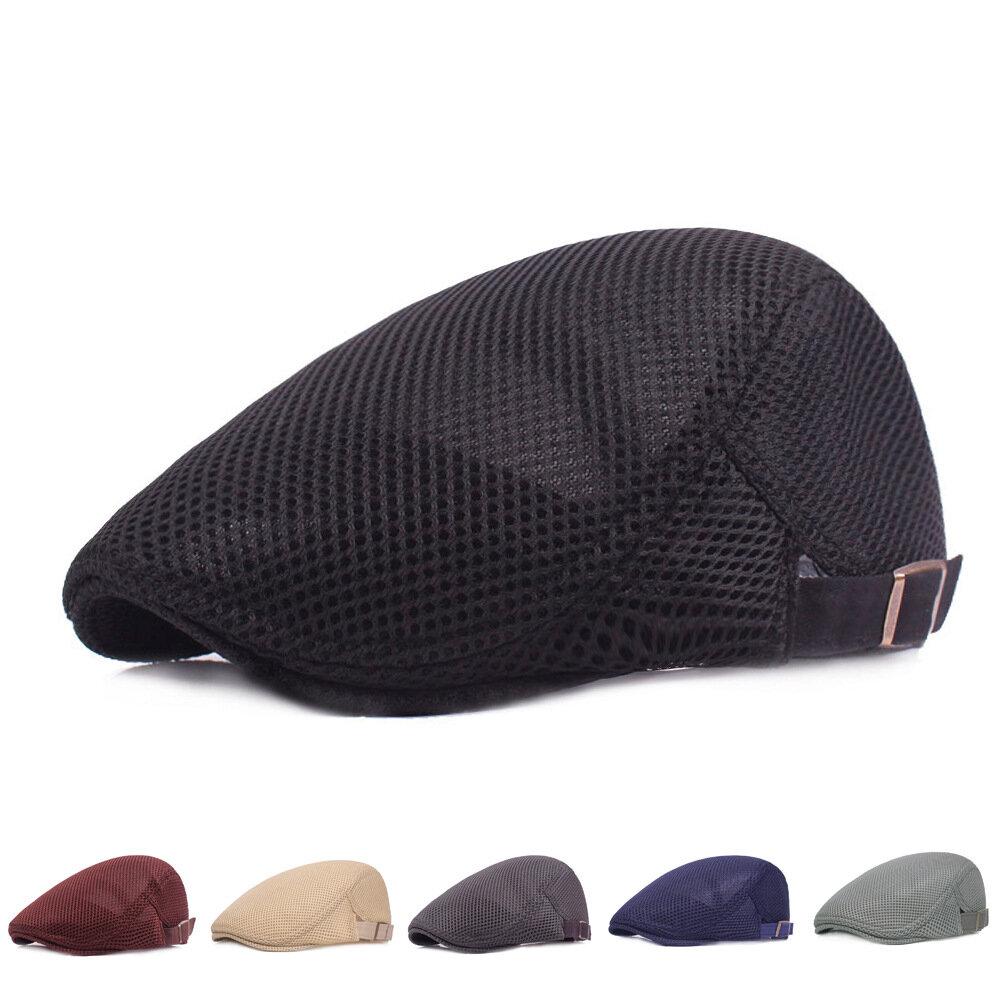Men's Mesh Cap Beret Simple Breathable Mesh Cap