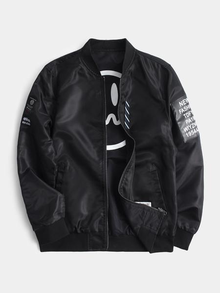 Yoins Men Black Two Side Smile Face Embroidered Baseball Collar Long Sleeve Bomber Jacket