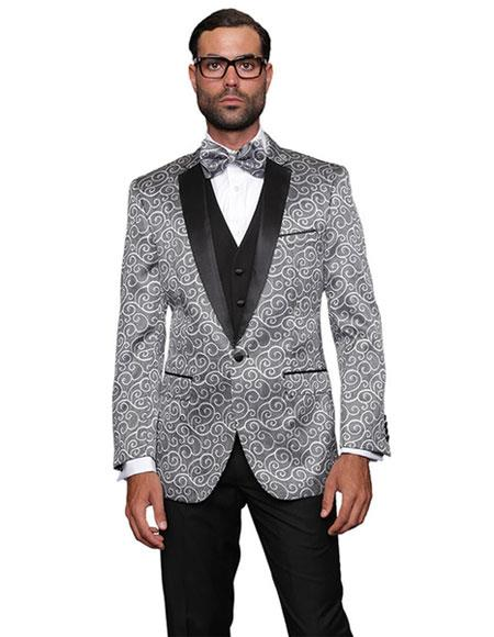 Mens Dinner Jacket Tuxedo Sport coat 2 toned Black Lapel Silver