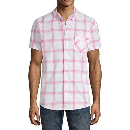 Levis Mens Short Sleeve Plaid Button-Down Shirt, X-large , White