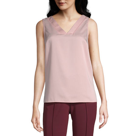 Worthington Womens V Neck Sleeveless Tank Top, X-small , Pink