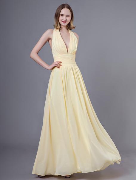 Milanoo Prom Dresses Long Daffodil Halter V Neck Backless Chiffon Floor Length Wedding Party Bridesmaid Dress