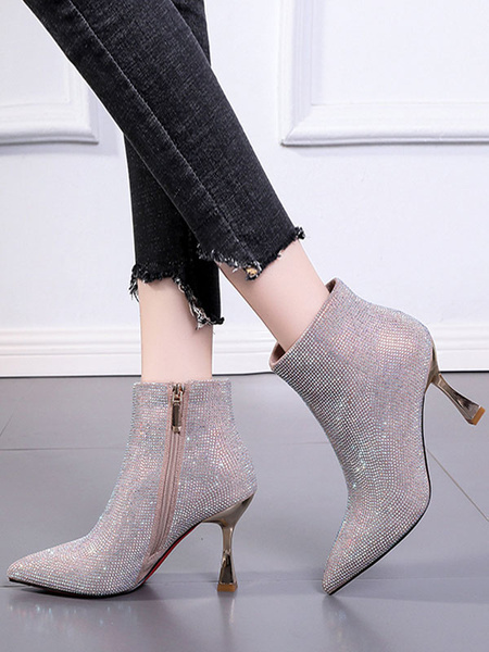 Milanoo Women Ankle Boots Silver Polyester Pointed Toe Rhinestones Stiletto Heel PU Leather Booties