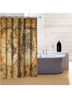 Retro European Style Earth Print 3D Shower Curtain