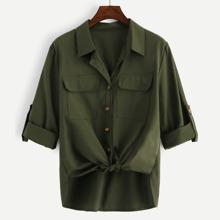 Shirt mit Taschen und Knoten