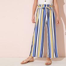Maedchen Hosen mit weitem Beinschnitt und Streifen