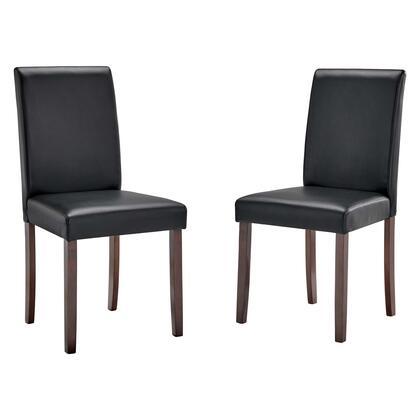 Prosper Collection EEI-3617-BLK Faux Leather Dining Side Chair Set of 2 in Black