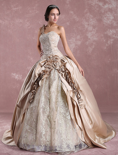 Milanoo Princess Wedding Dresses Champagne Victoria Bridal Gown One Shoulder Lace Embroidered Satin Wedding Gown