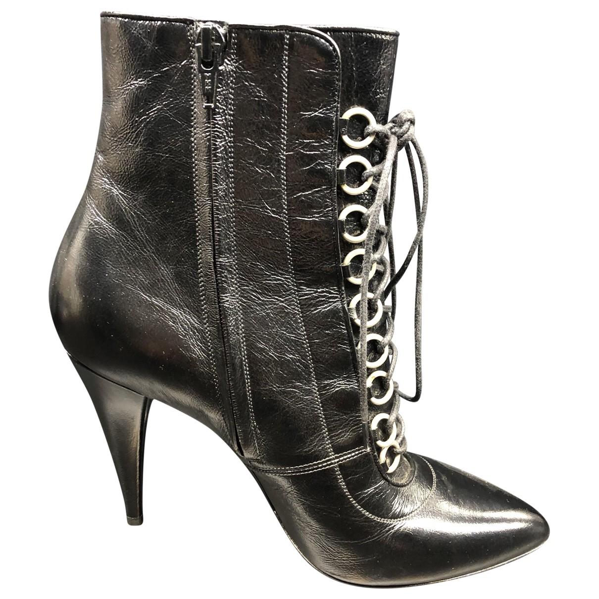 Saint Laurent N Black Leather Ankle boots for Women 40 IT